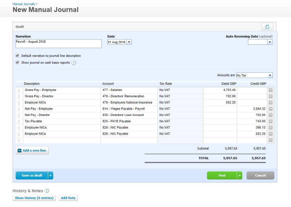 Example Payroll Journal in Xero
